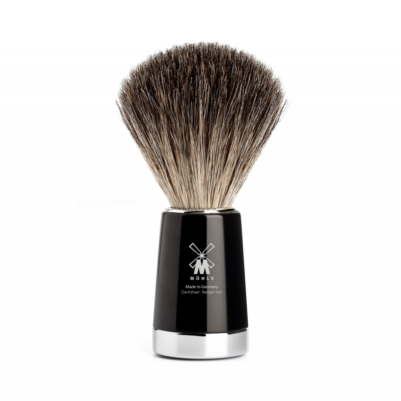 Muehle - Liscio Shaving Brush Pure Badger - Black Resin - 21mm