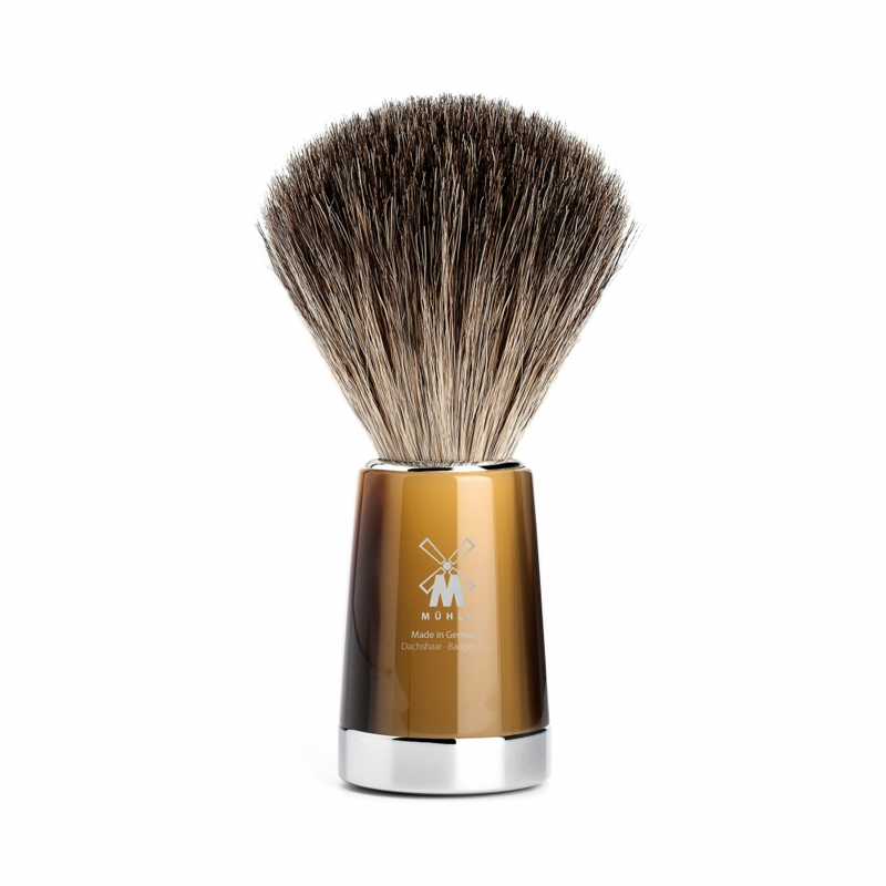 Muehle - Liscio Shaving Brush Pure Badger - Horn Resin - 21mm