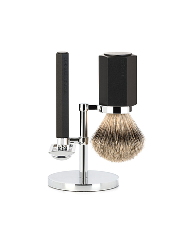 Muehle - Hexagon - Shaving Set Graphite - Silvertip