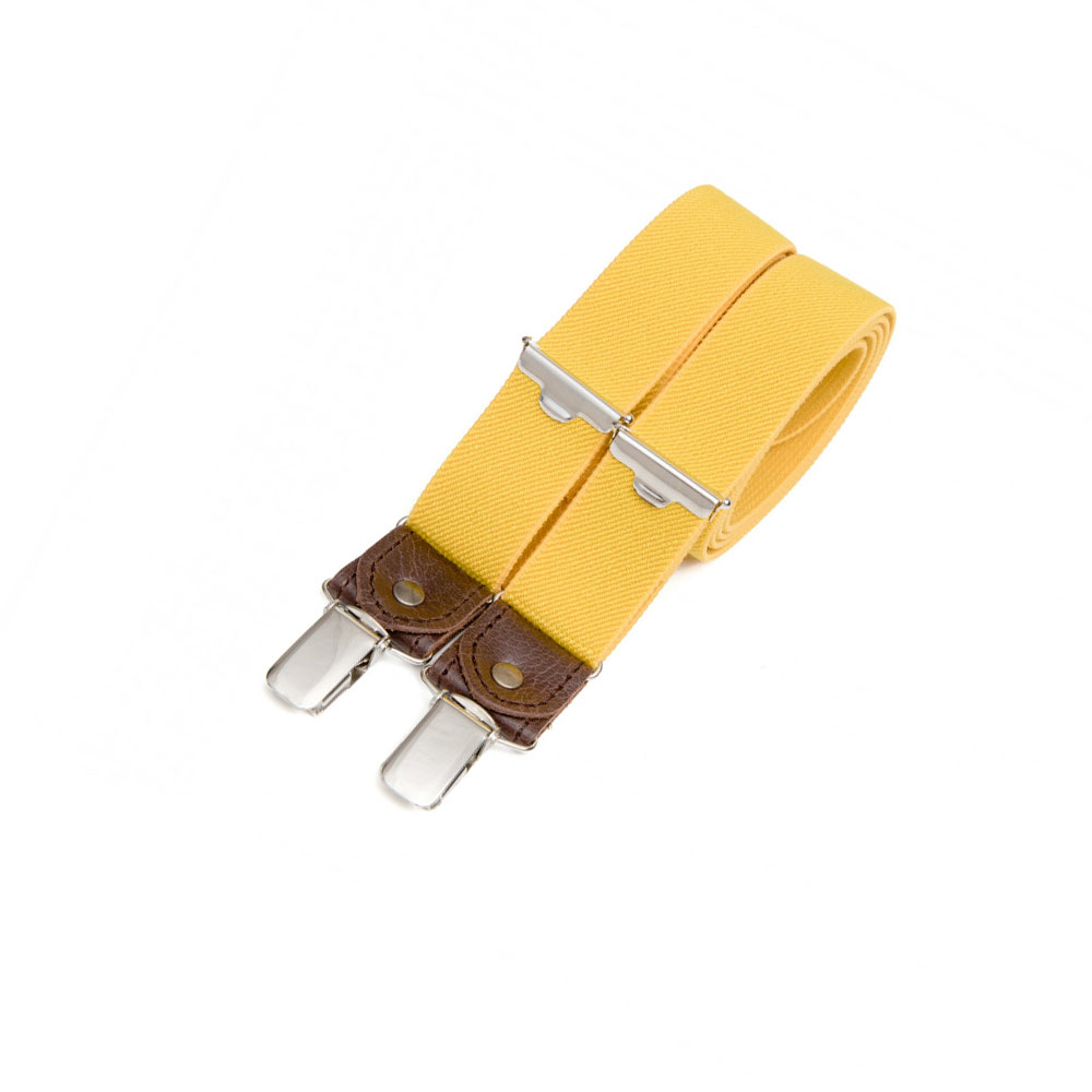 Skinny clip-on suspenders with leather details – Yellow