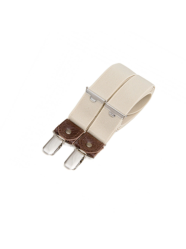 Skinny clip-on suspenders with leather details – Sahara beige
