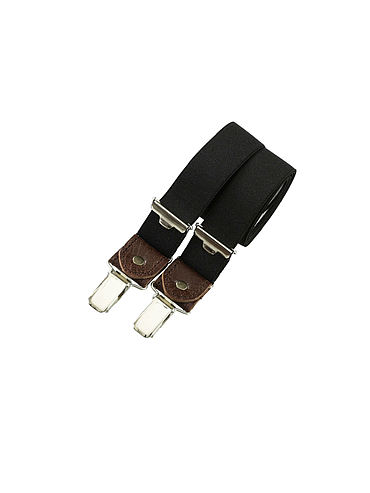 Skinny clip-on suspenders with leather – Black