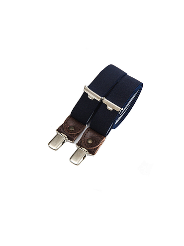 Skinny clip-on suspenders with leather details – Bleu Marine