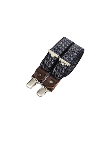 Skinny clip-on suspenders with leather details – Navy chevron