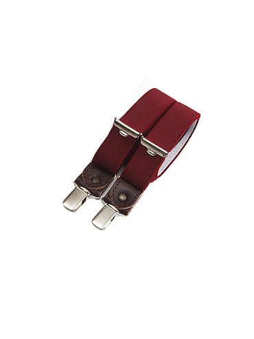 Skinny clip-on suspenders with leather details – Bordeaux