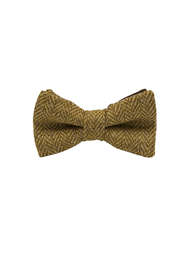 "Jaggs - Nœud papillon Tweed ""Dundee"" - Chevron jaune moutarde"