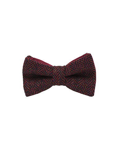 "Jaggs - Nœud papillon Tweed ""Dundee"" - Chevron rouge"