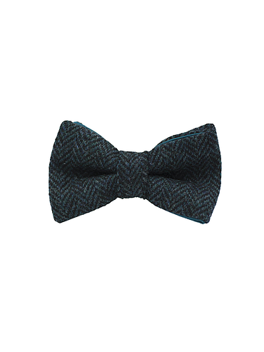 "Jaggs - Nœud papillon Tweed ""Dundee"" - Chevron turquoise"