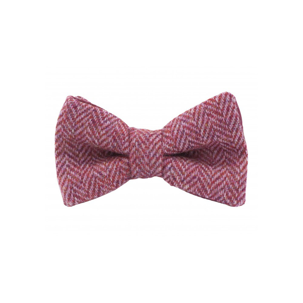 "Jaggs - Nœud papillon Tweed ""Dundee"" - Chevron rose framboise"
