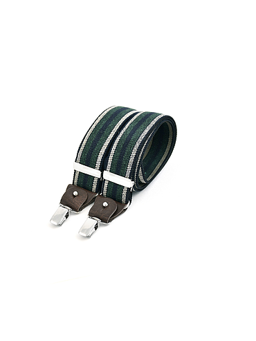 Skinny clip-on suspenders with leather details - Green and ecru stripe on navy blue