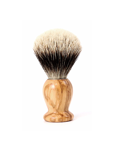 Gentleman - Pure White shaving brush - Olivewood - 21mm